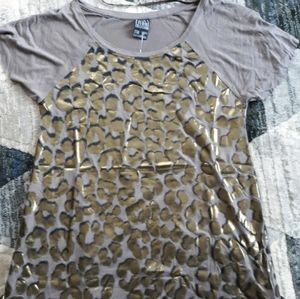Zara basic grey with gold animal print t shirt M
